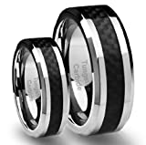 His & Hers 8MM/6MM Tungsten Carbide Wedding Band Ring Set with Black Carbon Fiber Inlay (Available Sizes 4-16 Including Half Sizes)