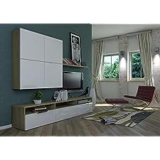 Mobile porta tv in rovere e laccato bianco BS6001 L240h43.7p45