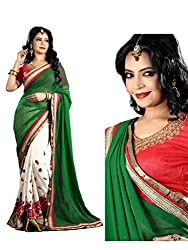 Bikaw Embroidered Green Georgette Party Wear Saree - BT-6517-NIR