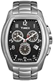 Timex T Series T2M987PF Men's Analog Watch with Chronograph, Stainless Steel Rectangular Dial, Black Back and Steel Bracelet