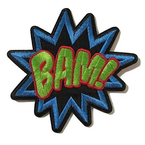 coolpart bamsuperhero Comics Retro divertente ricamato Applique termoadesivo Bam parola Patch Giacca in tessuto adesivo Abbigliamento fai da te accessori perfetto cerotti
