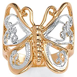 PalmBeach Jewelry 18k Yellow Gold-Plated Two-Tone Filigree Butterfly Ring