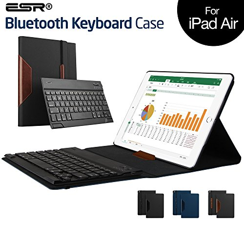 iPad Air ケース キーボード、ESR iPad Air スマートカバー「Bluetooth キーボード分離可」PUレザー ストラプ付き「スタンド機能」自動スリープ インテリジェントシリーズ(ブラウン)