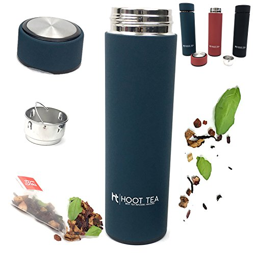 TEA AND COFFE INFUSER BY HOOT TEA -Stainless Steel Portable Insulated Water Bottle - Great Tumbler for DETOX, LOOSE LEAF, ICE, FRUIT, OILS, And VEGGIES - Silicone FILTER BAG- NavyGreat For Tea Lovers (Shark Vacumm Filters compare prices)