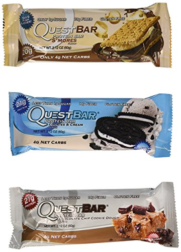 Quest Nutrition Protein Bar Variety Pack, Including S'mores, Cookies & Cream & Chocolate Chip Cookie Dough, Pack of 12, 4 of Each (Quest Protein Crisps compare prices)