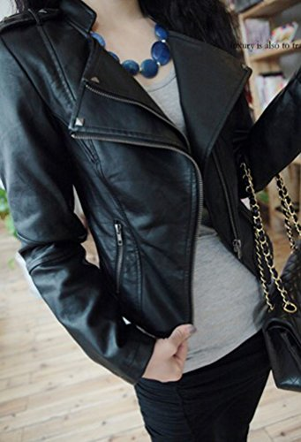 Feelmaker women's Korea style handsome Asymmetry Zipper faux leather jacket coats