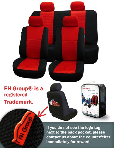 Fh-Fb060114 Trendy Elegance Car Seat Covers, Airbag Compatible And Split Bench, Red / Black Color front-979072