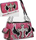 Dark Pink Cross & Wing Rhinestone Purse W Matching Wallet