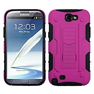 MYBAT ASAMGNIIHPCSAAS904NP Advanced Armor Rugged Durable Hybrid Rubberized Case with Kickstand for Samsung Galaxy Note II - 1 Pack - Retail Packaging - Hot Pink/Black