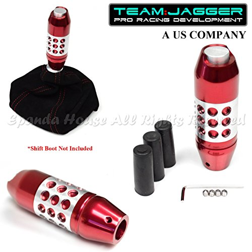 For Thread Size M12 M8 M10 USA Red/Chrome Slotted Automatic Shift Knob W/ Button (Automatic Red Shift Knob compare prices)