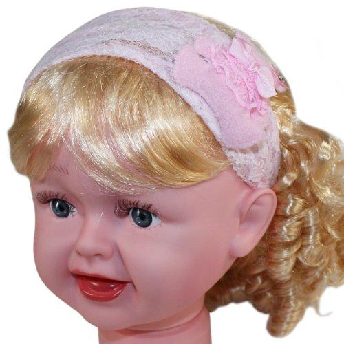 Sweet Teddy Bear Flower Lace Wide Kids Headband