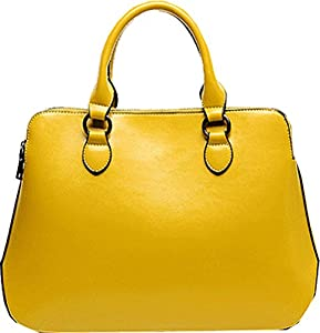 Buenocn Women's Leather Fashion Double Zippered Tote Cross Body Shoulder Bag Handbag Shy263 (small, yellow)