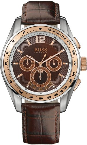 Hugo Boss Men's Quartz Watch with Brown Dial Chronograph Display and Brown Leather Strap 1512515