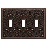 Filigree Triple-Toggle Switch Plate in Aged Bronze (Color: Aged Bronze)