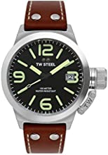TW Steel Unisex Quartz Watch with Black Dial Analogue Display and Brown Leather Strap TW945