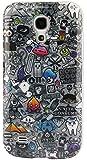 [A4E] Schutzhülle, Hülle passend für Samsung Galaxy S4 mini (i9190), aus TPU-Silikon, mit Bleistift Zeichnung / Comic Design in weiß / grau / schwarz