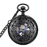 LYMFHCH Steampunk Blue Hands Scale Mechanical Skeleton Pocket Watch