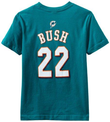 NFL Miami Dolphins Reggie Bush Youth Short Sleeve T-Shirt Primary Gear, Large (14 -16), Aqua (Reggie Bush Miami Dolphins compare prices)