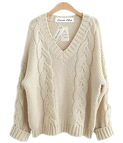 Season Show Womens Winter Ribbed V-neck Thick Plus Size Loose Knitted Pullover Sweater Cream L
