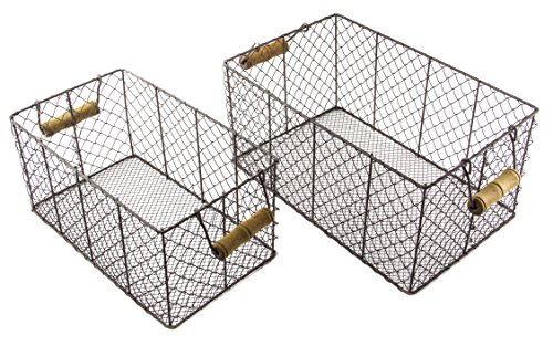 Harvest Metal Wire Rectangular Basket Set with Handle -Small and Large (Large Willow Basket With Handle compare prices)