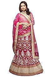 Jiya Presents Embroidered Net Lehenga Choli(Dark Pink,Beige)