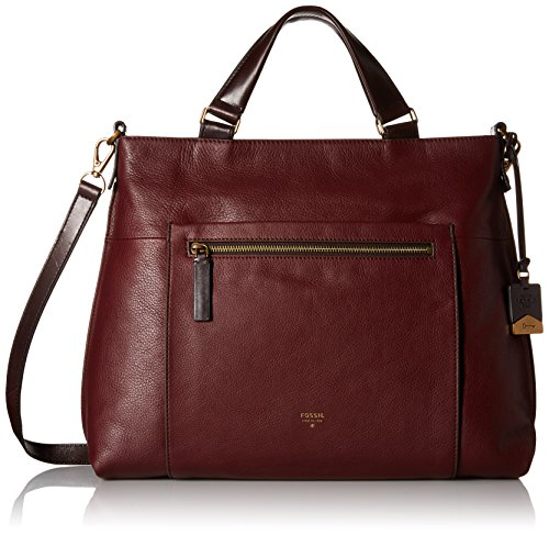 Fossil Vickery Work Tote Shoulder Bag, Maroon, One Size