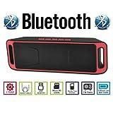AGM Bluetooth スピーカー ステレオ YOUTUBE視聴可 低音振動板装備 ( FMラジオ ) ( ハンズフリー テレホン ) ( LINE IN ) ( USBメモリー ) ( MICRO SD ) 安心の基本機能一年メーカー保証 日本語説明書付 (レッド)