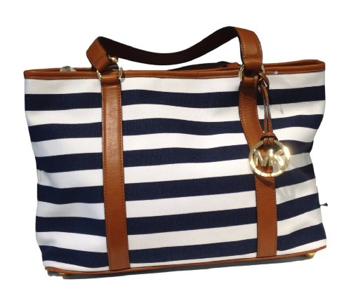 Michael Kors Summer Large Ew Tote Navy White Striped Canvas