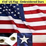 ANLEY® [Heavy Duty] American US Flag 4x6 Foot Nylon - Embroidered Stars and Sewn Stripes - 4 Rows of Lock Stitching - USA Banner Flags with Brass Grommets 4 X 6 Ft