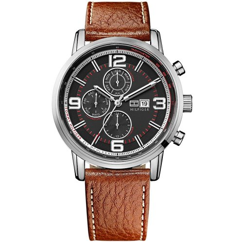 Tommy-Hilfiger-Gabe-Mens-Quartz-Watch-with-Black-Dial-Analogue-Display-and-Brow