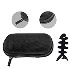 buy Litop® Rectangular Eva Earphone Case Earphone Bag For Mp3/Mp4 Bluetooth Earphone Earbuds, Zipper Enclosure, Inner Pocket For Apple, Sennheiser, Sony, Bose, Panasonic, Samsung Plus With Cost-Free Fish Bone Shape Silicone Earphone Organizer Winder (Black Se