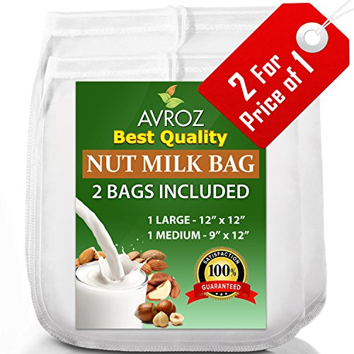 Best Price My Best Nut Milk Bag - 2 Pack Large (12x12) & Medium (12x9) Strong Reusable Almond Mi...