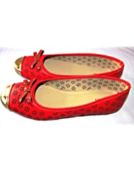 Arrison Plaza Women Bellies Shoes For Party, Casual, Office And College (Red_Bow)