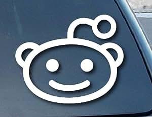 """Reddit Alien Head Car Window Vinyl Decal Sticker 4"""" Wide (Color: White)"""