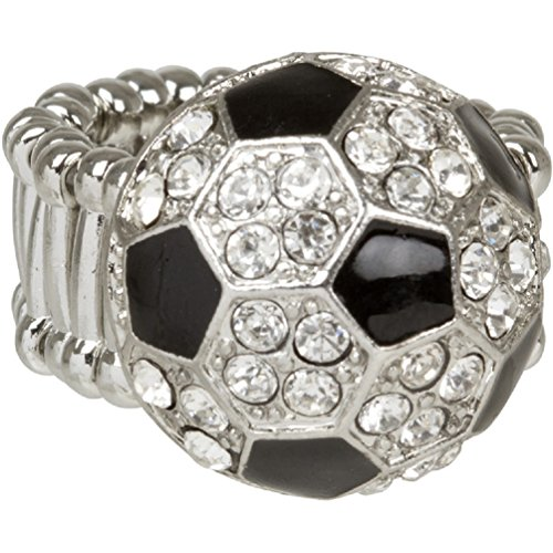 Bling Enamel and Crystal Soccer Ball Ring