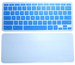 CaseBuy Semi-Transparent Keyboard Silicon Protector Skin Cover(Set of 2) for HP Chromebook 14 14-inch Google Chromebook US Version (Blue+Clear)