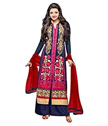 Aarsh Apparel Blue Georgette Embroidery Dress Materials