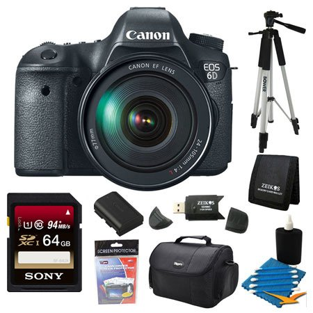 Canon EOS-6D Digital SLR Camera Kit with EF 24-105mm F3.5-5.6 IS STM Lens