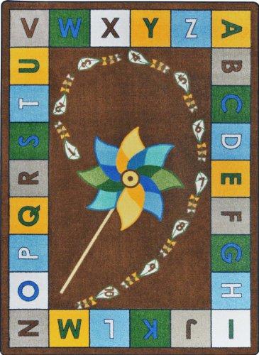 "Joy Carpets Kid Essentials Early Childhood Alphabet Pinwheel Rug, Earthtone, 10'9"" x 13'2"""