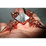 Exquisite Copper Coil Crystal Quartz Pyramid Energy Generator 4 Points Healing Reiki Sacred Gift Pyramid Generator Crystal Pencil Point Programmable Divine (Color: White)