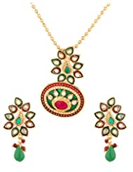 Voylla Majestic Red Green Golden Pendant Set With Chain