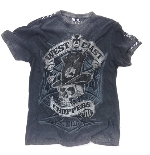 West Coast Choppers T-Shirt Cash Only Tee, Color:black/grey;Größe:M