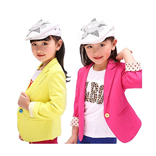 [Girls Blazer Jacket (Rose Red 130cm) Candy Color Kids Casual Cotton Suit] (Avatar Makeup)