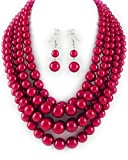 Red Bead Multi Strand Graduated Necklace and Earrings Set