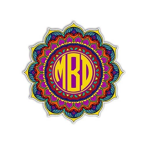 MeganJDesigns Customizable Mandala Monogram Sticker Colorful Car Decal Vinyl Bumper Sticker Custom Initials Symbol Yoga Car Decal Yantra Cosmos Universe Wall Art (Colorful Initial Car Decals compare prices)