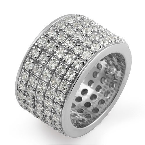 Eternity Round Cz Wedding Anniversary Cubic Zirconia Band Ring Sterling Silver 925 Sz7