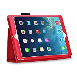 HOKO Red Leather Flip Case Cover Stand with magnetic closure for Apple iPad Air (Auto wake and sleep)