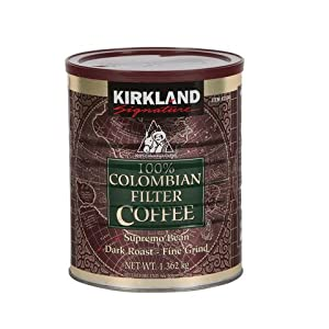 Signature 100% Colombian Coffee Supremo Bean Dark Roast-Fine Grind, 3 Pound by Kirkland Signature