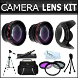 58mm 2x Telephoto And .45x Wide Angle Lens Kit + (3) Filters (UV-CPL-FLD) + Case + 62mm Hard Lens Hood + Tripod...