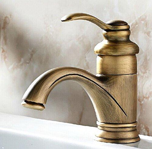 Aquafaucet European Style Single Handle Centerset Bathroom Antique Brass Mixer Faucet For Vanity